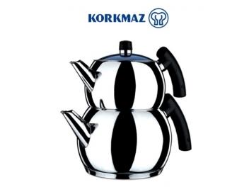 סט קומקומים לתה KORKMAZ דגם טומביק מכסה זכוכית