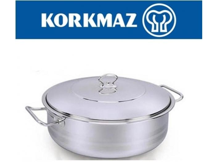"""סיר נירוסטה קורקמז  KORKMAZ נמוך 15 ליטר 36 ס""""מ"""