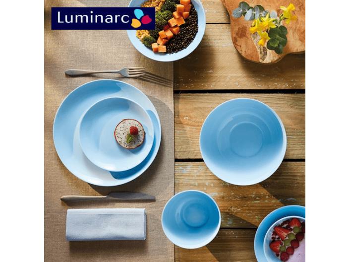 מערכת אוכל 18 חלקים לומינארק Luminarc דגם דיואלי כחול Light Blue