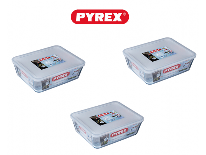 סט 3 קופסאות פיירקס מכסה לבן 0.8,2.6,4 ליטר