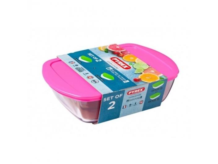 סט 2 קופסאות פיירקס קוק סטור Cook Store מכסה ורוד