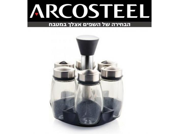 מתקן אחסון לתבלינים+6 צנצנות זכוכית ארקוסטיל
