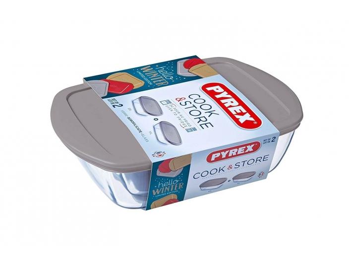 סט 2 קופסאות פיירקס קוק סטור Cook Store מכסה אפור
