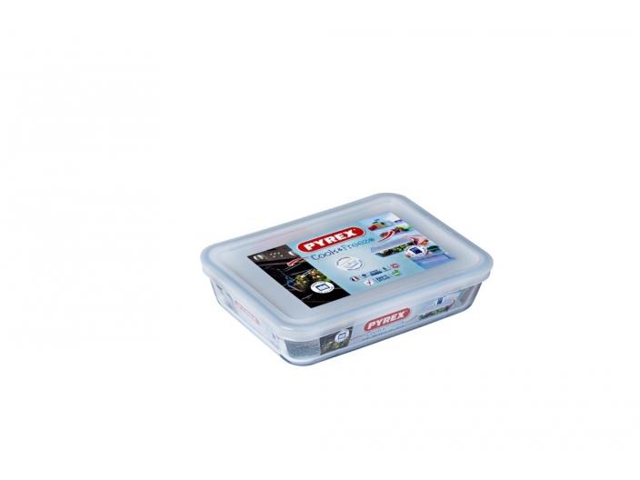 קופסאת אחסון פיירקס מלבנית 0.8 ליטר מכסה לבן