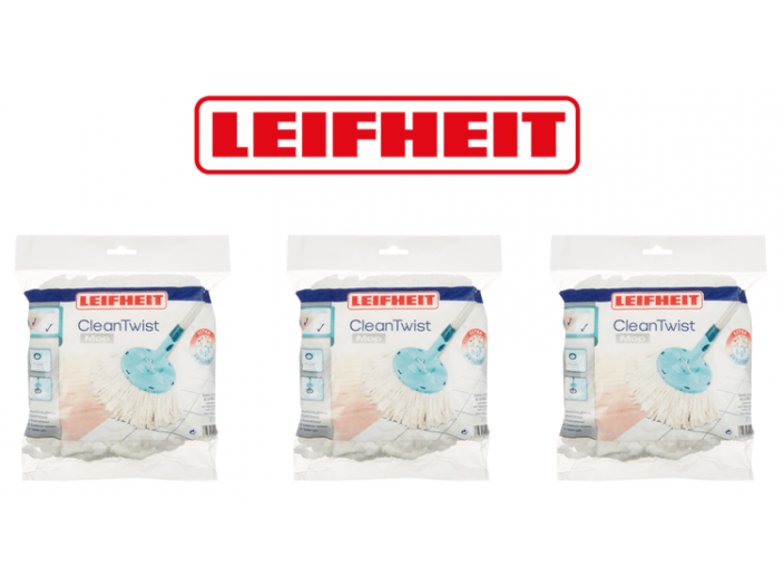 מארז 3 ראש סחבה למגב LEIFHEIT מסדרת Clean Twist Mop עגול 52095