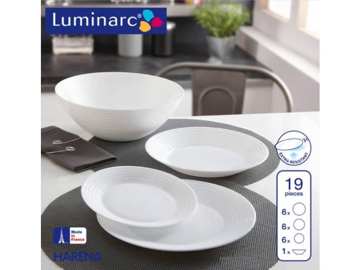 מערכת אוכל 19 חלקים לומינארק דגם ארנה לבן חסר במלאי