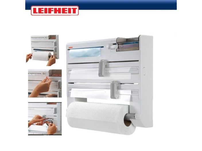 מתקן משולב לניילון, אלומיניום ונייר למטבח LEIFHEIT להזמנות 03-9447171 או 03-6839338