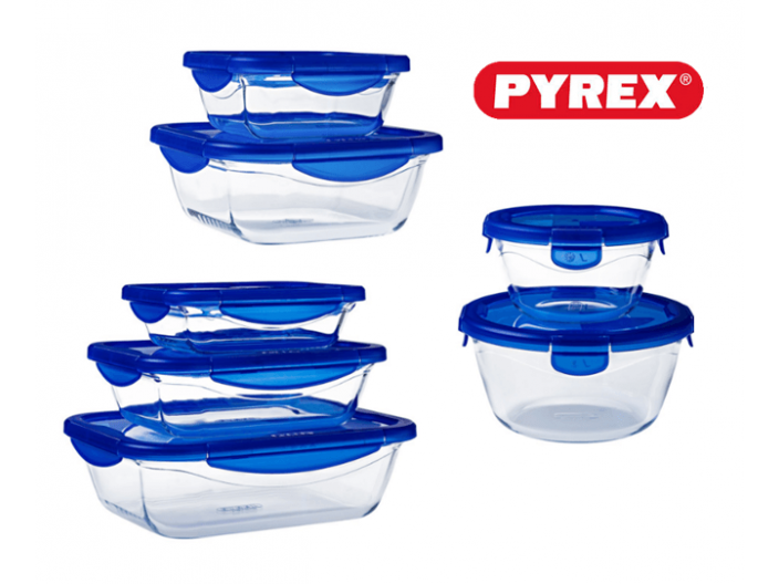 סט 14 חלקים פיירקס קוק אנד גו Pyrex Cook And Go זכוכית