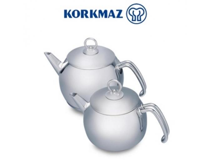 סט קומקומים לתה KORKMAZ דגם טומביק ידיות נירוסטה