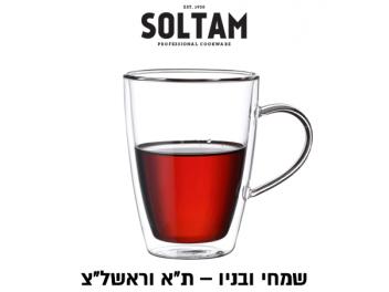 סט 6 כוסות דופן כפולה + ידית 320 מ״ל סולתם SOLTAM