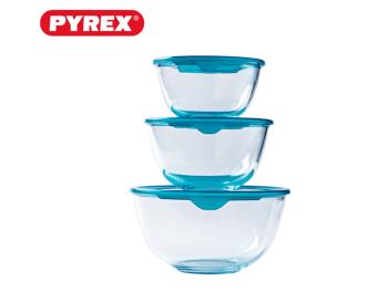 סט 3 קערות זכוכית PYREX  פיירקס עם מכסה