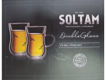 סט 6 כוסות דופן כפולה עם ידית דגם תה טורקי 145 מ