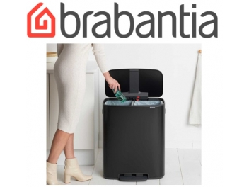 *כולל משלוח עד הבית* BO פדל פח הפרדה 30+30 ליטר שחור מט Brabantia