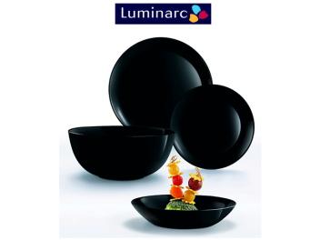 מערכת אוכל 18 חלקים לומינארק Luminarc דגם דיואלי Noir Black שחור