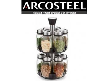 מתקן אחסון לתבלינים+12 צנצנות זכוכית ארקוסטיל