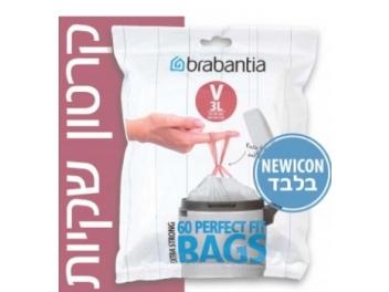 קרטון שקיות קוד V לפח אשפה 3 ליטר 720 יח׳ Brabantia NewIcon