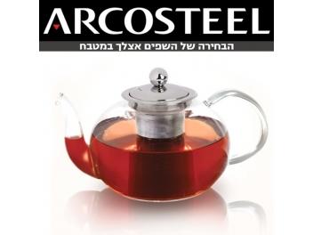 קומקום זכוכית ארקוסטיל+פילטר נירוסטה 1.2 ליטר