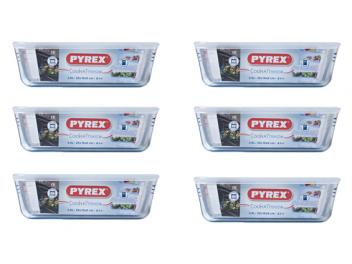 מארז 6 קופסאות פיירקס Pyrex מכסה לבן 1.5 ליטר