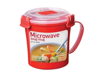 ספל מרק MICROWAVE אדום של חברת Sistema בנפח 656 מ