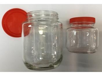צנצנת זכוכית הברגה אדום 850 מ״ל MG