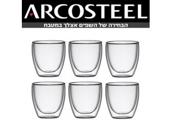 סט 6 כוסות דופן כפולה נפח כל כוס 90 מ
