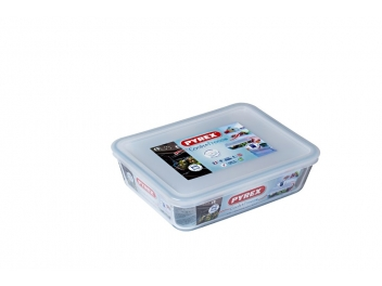 קופסאת אחסון פיירקס מלבנית 1.5 ליטר מכסה לבן