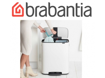 *כולל משלוח עד הבית* BO פדל פח הפרדה 30+30 ליטר לבן Brabantia