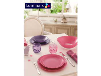 מערכת אוכל 18 חלקים לומינארק Luminarc דגם ארטי Arty ורוד