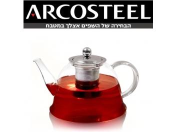 קומקום זכוכית ארקוסטיל+פילטר נירוסטה 1.5 ליטר