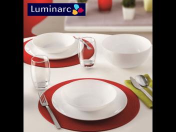 מערכת אוכל 18 חלקים לומינארק Luminarc דגם דיואלי לבן