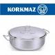 סיר נירוסטה נמוך קורקמז  KORKMAZ נפח 10 ליטר